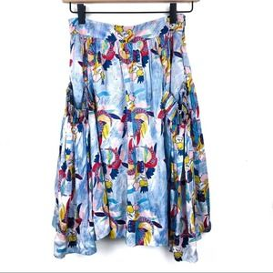 La Dovitch Knee Length Watercolor Rayon Silk Skirt